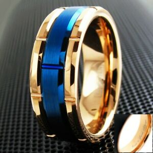 8mm Tungsten Men's Rose Gold Brushed Blue Grooved Wedding Band - Engravable
