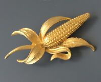 Vintage signed  Mamselle Corn on a cub Pin in gold  tone metal