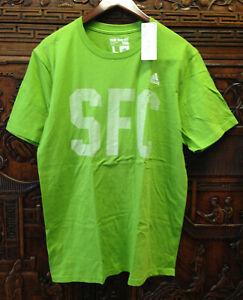 New adidas Mens 100% Cotton Short Sleeve Tee, Green, Large