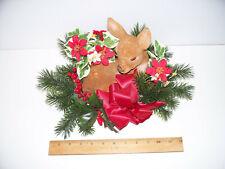 vintage Christmas Centerpiece Decoration Flocked Felt Deer