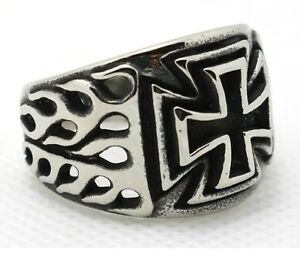 Iron Cross Ring WW2 Mens Biker Flaming Gothic Military Army 316L Stainless Steel