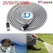 Stainless Steel garden hose Water Pipe 25/50/75/100FT Flexible Lightweight