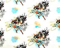 FAT QUARTER WONDER WOMAN SUPER POWER METALLIC COTTON FABRIC CAMELOT SUPERHERO FQ