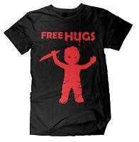 Free Hugs Chucky Herren T-Shirt Horror Fun Killer Halloween Kult Retro Fan Shirt