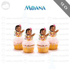 12 Baby Moana Cupcake Toppers for Birthday Party Cake Supplies Baby Favor Shower