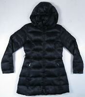 Laundry By Shelli Segal Down Puffer Quilted Black Full Zip Hooded Coat Jacket XS