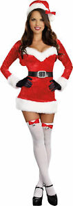 Santa Baby Adult Womens Costume Sexy Red Velvet Dress Christmas Outfit Party