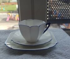 A SHELLEY QUEEN ANNE TRIO SET WITH CUP PLAIN WHITE BLUE HANDLE