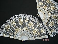 SPANISH WHITE GOLD ROSE LACE ORGANZA HAND FAN WEDDING FANCY DANCE HEN PROM PARTY