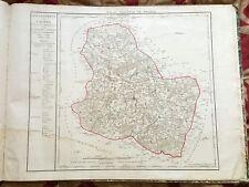 Dépt 89 - Carte Originale de 1790 Gravure sur Cuivre Aquarellée 73 x 56 cm