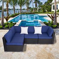 4 Pcs Outdoor Patio Sofa Set Wicker Rattan Sectional Furniture W/ 2 Pillows