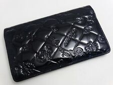WOW!!! US SELLER Authentic CHANEL LONG WALLET BLACK PATENT LEATHER LOGO ICON