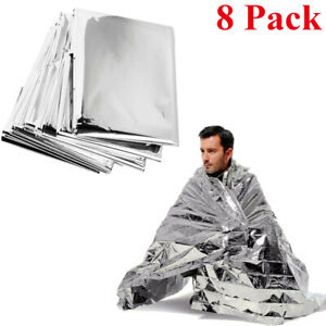 8Pack Emergency Solar Foil Thermal Blanket First Aid Survival Camping Waterproof