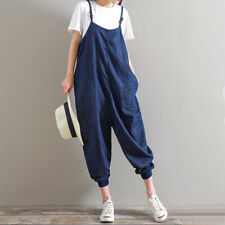 UK 10-24 Women Harem Playsuits Strap Loose Trousers Dungaree Baggy Jumpsuits
