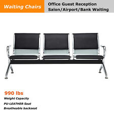 New listing Airport Salon Barber Waiting Chair Bank Hall Room Bench 3-Seat with Pu Cushion