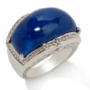 HSN Victoria Wieck Domed Lapis & Yellow Sapphire Sterling Band Ring Sz 7
