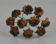 """Mulberry Paper Flower Tiny Rose Picot tee Dark Chocolate 3/8"""" 10mm brown"""