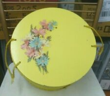 Yellow Round Vintage 40s 50s Wicker Sewing Box / Basket Flowers Wood Lid