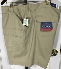 Croft /& Barrow Polyester Belted 48 Shadow Brown Flat Front Cargo Shorts SR$56NEW