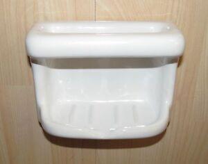 New Porcelain Soap Dish w Grab Bar Wall Mount Glossy White
