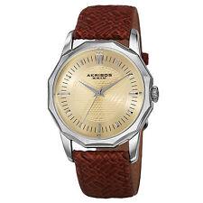 New Men's Akribos XXIV AK825SSBR Quartz Dodecagon Case Braided Leather Watch