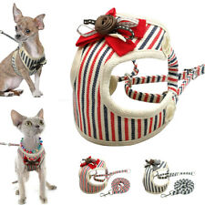 Mesh Padded Dog Harness and Lead Stripes for Pet Puppy Cat Chihuahua Schnauzer