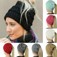 Women Girls Winter Warm Stretch Knit Hat Messy Bun Ponytail Beanie Holey Hats