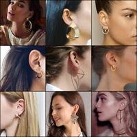 Fashion Large Circle Geometry Metal Earring Ear Stud Earrings Women Jewelry