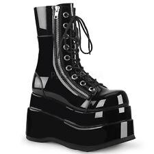 "Huge Demonia 4.5"" Stacked Platform Shiny Black Calf Zipper Boots Goth 6-12"
