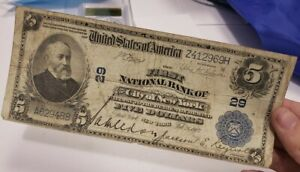 New York NYC $5 Dollars First National Bank Large Size National Currency 1902