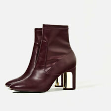 BNWB ZARA BURGUNDY HEEL DETAIL ANKLE BOOTS WITH  SIZE 5 UK / 38 EU / 7.5 US