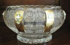 "Bohemia Crystal Bowl with Gold Stripes & Painting, 10"" Wide, hand cut, Queenlace"