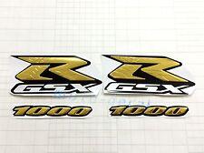 Raised 3D Chrome Suzuki GSXR GSXR1000 Emblem Gold Decal Fairing Sticker Bling