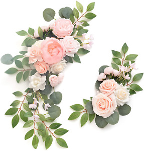 Ling's moment Artificial Flower Swag for Blush Cream Wedding Ceremony Sign - of