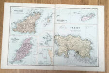 Old Colour Map Of The Isle Of Man & Channel Islands 1800s Bacons Geographical