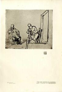 Rembrandt Two Man seated at a Doorway Histor. Kunstdruck v.1911