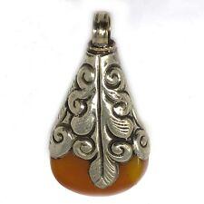 Yellow Resin Pendant Reversible Silver Plated Brass Tribal Tibetan Nepal UP2402