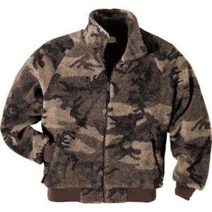 Cabela's Outfitter Brown Camo Berber Fleece Waterproof Windshear Hunting Jacket