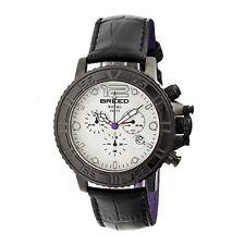 NEW Breed 4703 Men's Von Glarus Black Leather Chronograph White Dial Round Watch