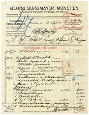 Burgmayer Auto-Werkstatt- Rechnung für Prinz Alfons von Bayern von 1914.