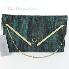JENNIFER LOPEZ Handbag GREEN & AQUA CLUTCH Faux SNAKESKIN Gold Trim CHAIN STRAP
