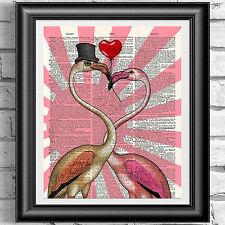ART PRINT ON ORIGINAL ANTIQUE BOOK PAGE Vintage Flamingo love heart Dictionary