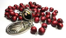 St Faustina Kowalska cherry Relic Chaplet & card Divine Mercy Miraculous Medal