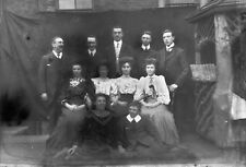 GROUP OF THEATRE PEOPLE Antique Photographic Glass Negative (1910s Edwardian)