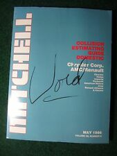 1986 May Mitchell Collision Estimating Guide Manual Chrysler Jeep Dodge Plym ++