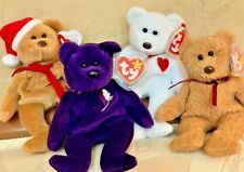 "GROUP OF ""4"" RARE TY BEANIE BABIES - SANTA TEDDY, PRINCESS, VALENTINO & CURLY!"