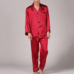 2PCS Men Silk Satin Pajamas Pyjamas Set Long Sleeve Sleepwear Pijama Pajama Suit