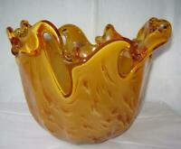 Genuine Hand Made Murano Art Glass Bowl Amber Italy by White Crystal No 564