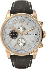 EXECUTIVE Club Herrenuhr Chronograph rosegold Lederarmband Datum Elegant