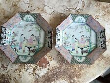 Pair of Japanese Export Famille Verte-Rose Style Chargers Octagonal